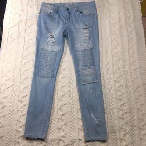 V I P jeans size 9/10 patchwork light wash